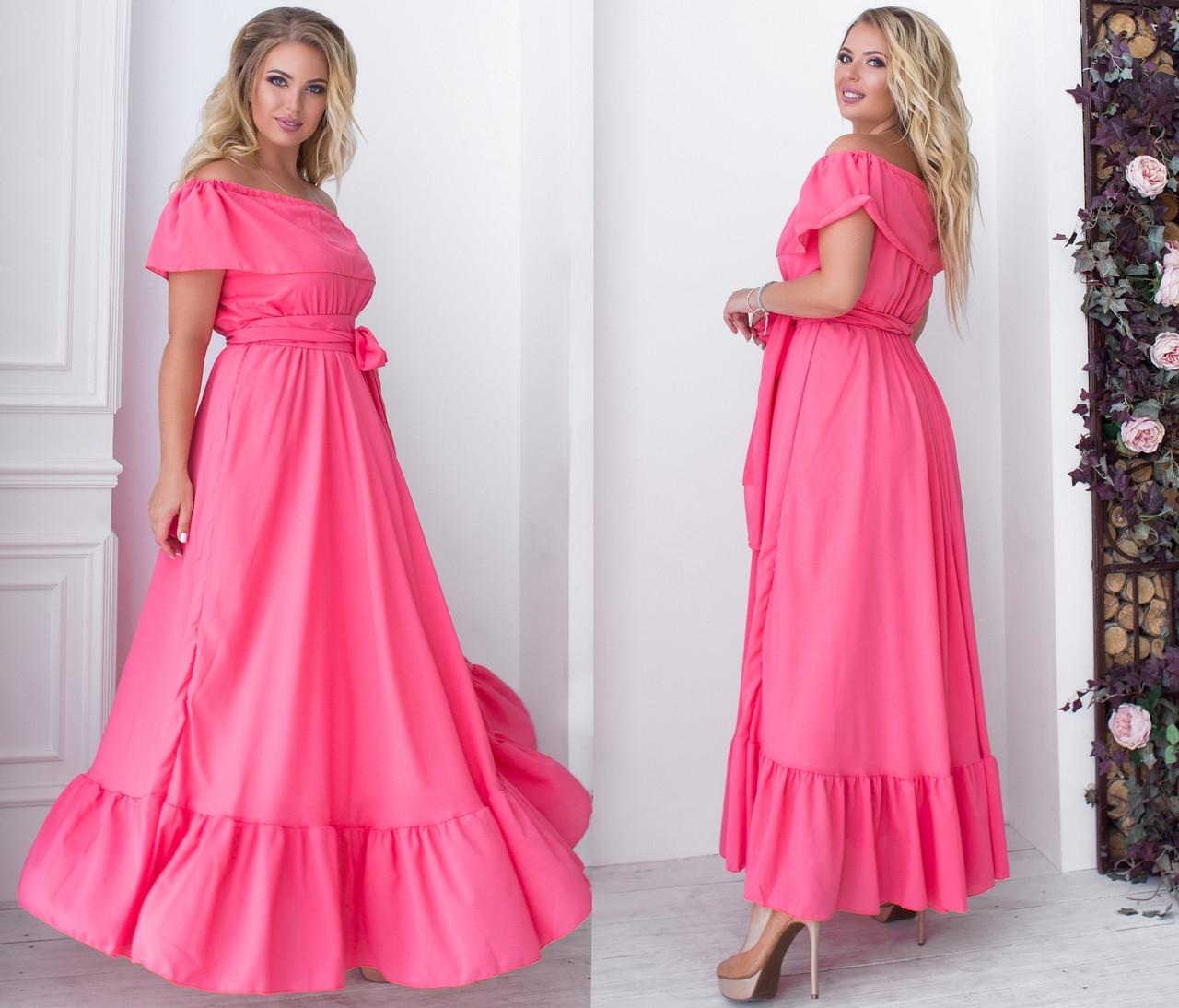 Длинное шифоновое платье с открытыми плечами