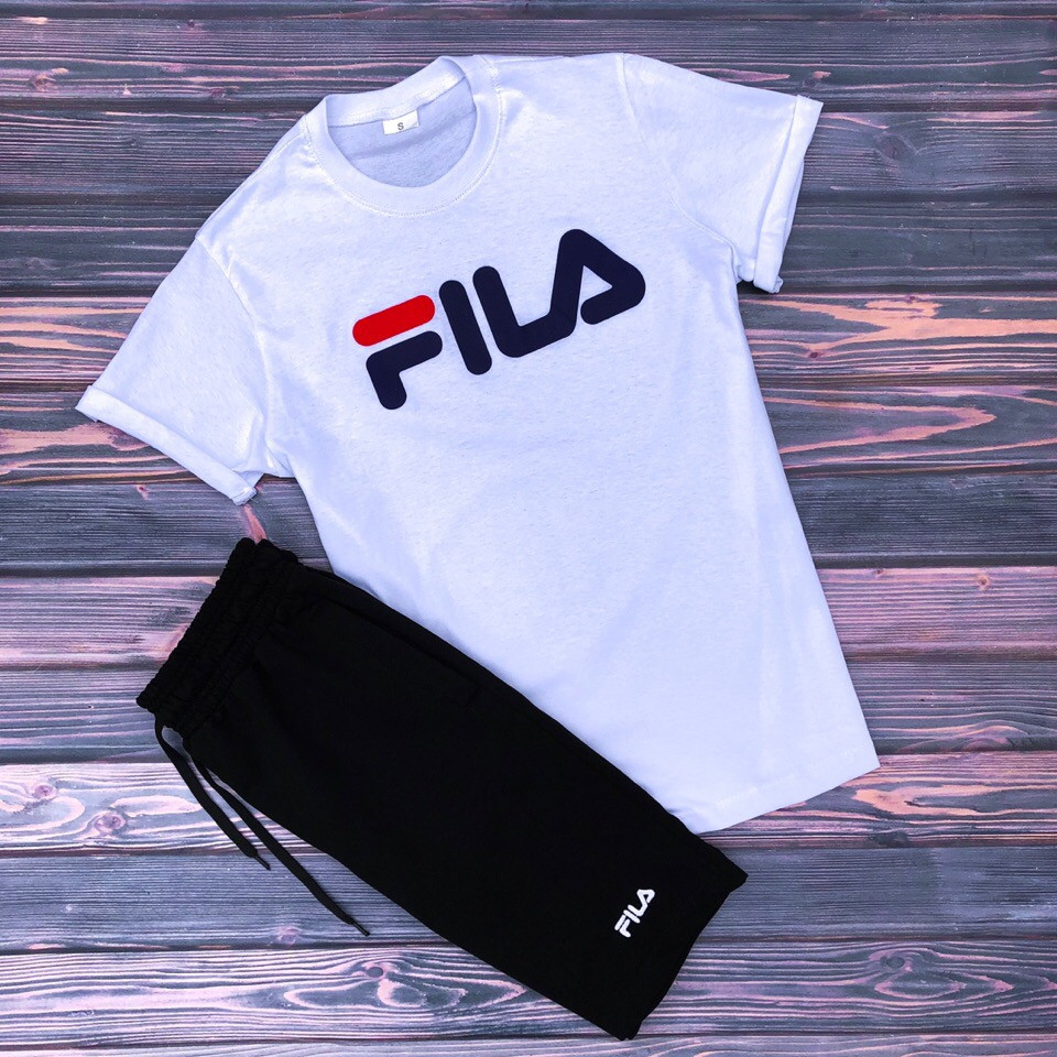 ea79aa74 Футболка + Шорты + Скидка! Спортивный костюм мужской летний в стиле FILA  Black-White