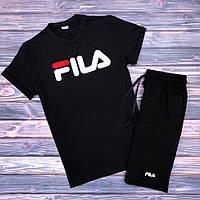 Футболка + Шорты + Скидка! Спортивный костюм мужской летний в стиле FILA Black