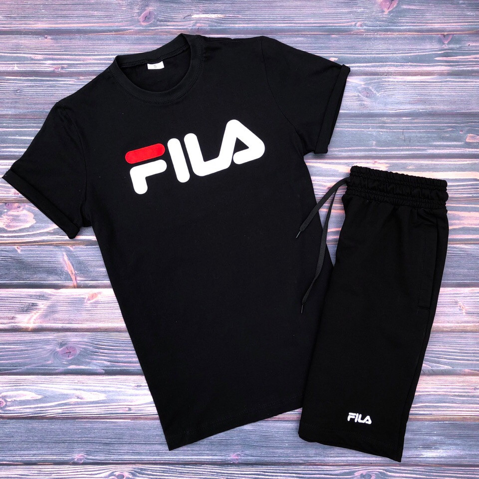 2ae4d536 Футболка + Шорты + Скидка! Спортивный костюм мужской летний в стиле FILA  Black - Интернет