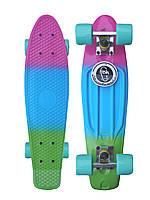 """Скейт Пенні Борд Penny Fish Skateboards Tropic Градієнт 22"""" рожевий-голубий-зелений"""