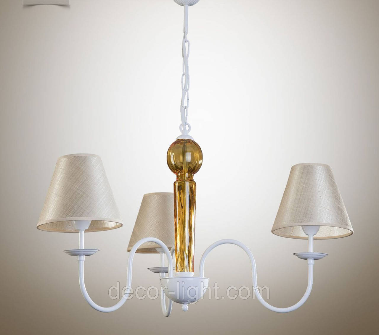 Люстра 3-х ламповая, металлическая с кремовыми абажурами для спальни, детской 17103-3