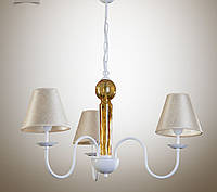 Люстра 3-х ламповая, металлическая с абажурами для спальни, детской