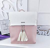 Женский рюкзак-сумка в стиле Zara бело-пудрового цвета с кисточками из экокожи, фото 1