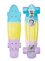 "Скейт Пенні Борд Penny Fish Skateboards Candy Градієнт 22"" пурпурний-жовтий-блакитний"
