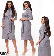 Модное платье на пуговицах с поясом (серый) 828609