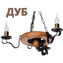 Деревянная люстра Колесо Кольцо светлое на 3 лампы