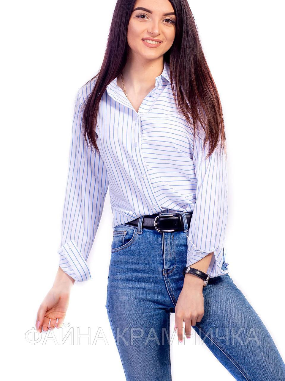 Блуза в асиметричну смужку довгий/рукав рр.42-48