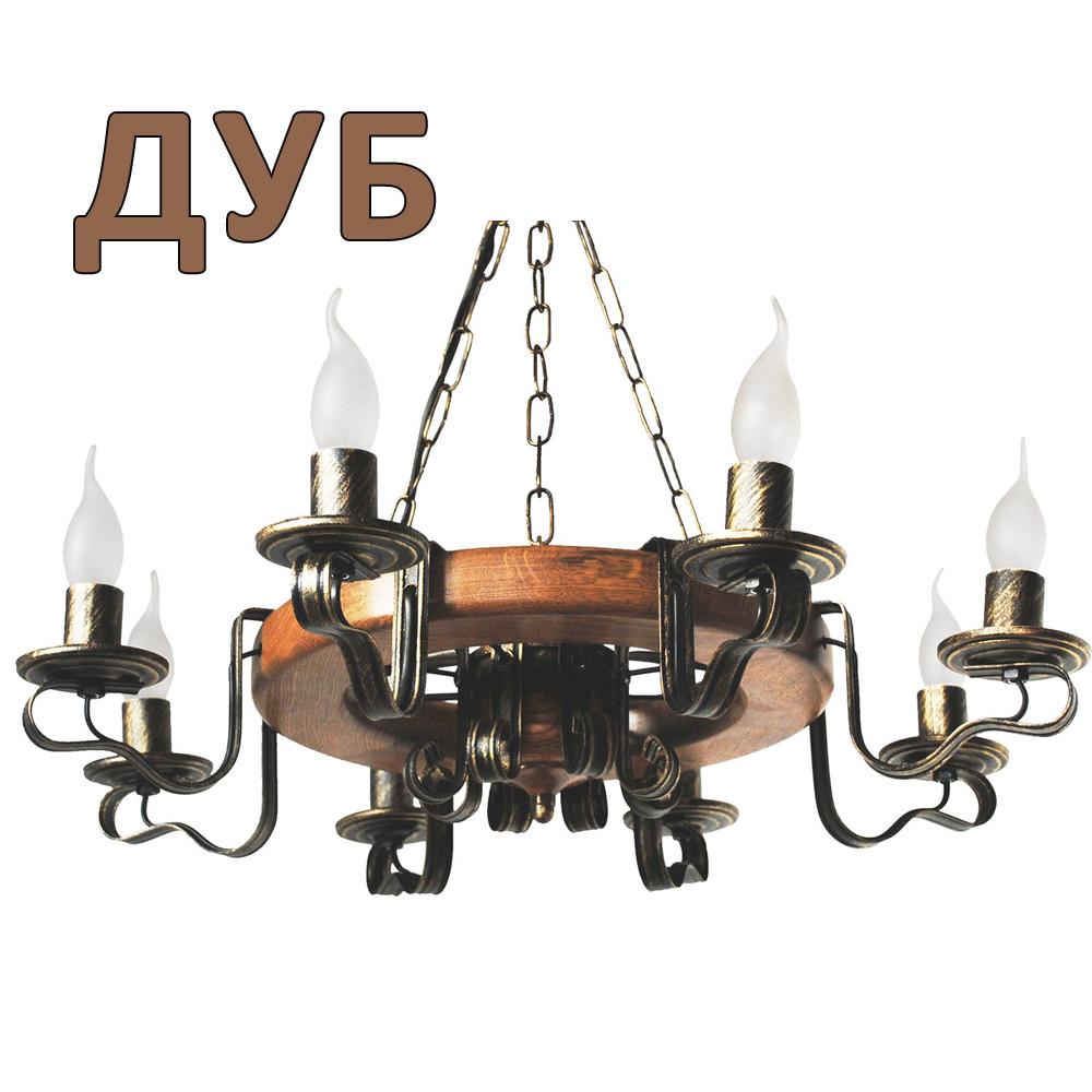 Деревянная люстра Колесо Кольцо светлое на 8 ламп