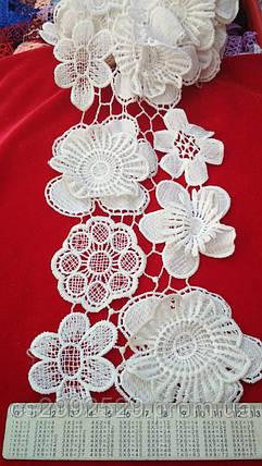 Тесьма цветы+нитка,белый,14 м. моток., фото 2