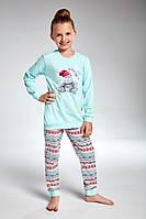 277243fa4b34c 594-18 Пижама для девочек 95 Hippo Cornette бирюзово-розовый (122-128