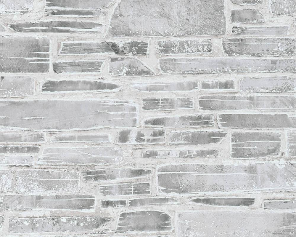 Плотные и прочные фактурные обои, бумажные светло серые с узором в виде камня 364592