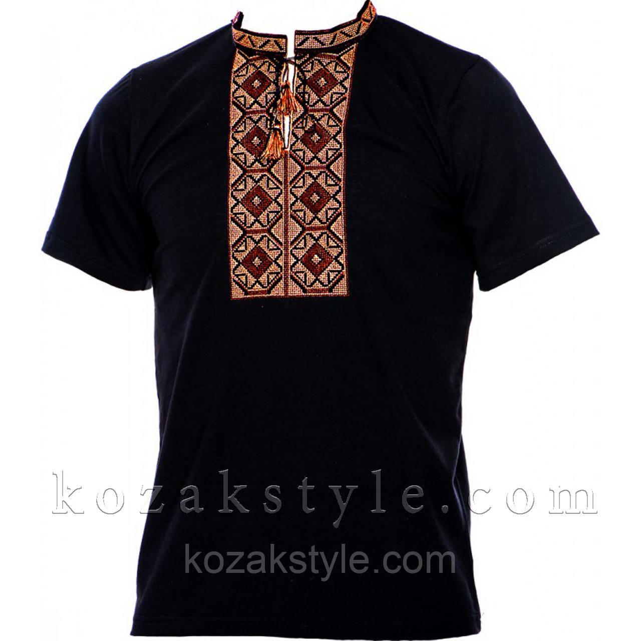 Трикотажна вишиванка чорна з коричневою вишивкою  продажа 777b1d55b926b