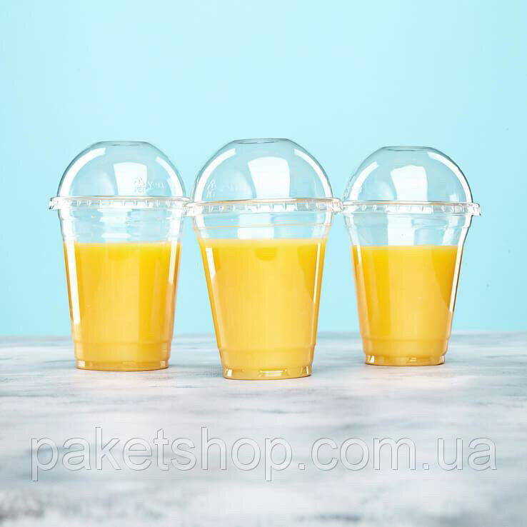Одноразовый пластиковый стакан ПЭТ с крышкой 420 мл, 50 шт