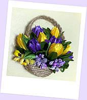 Цветочная корзинка для интерьерной куколки