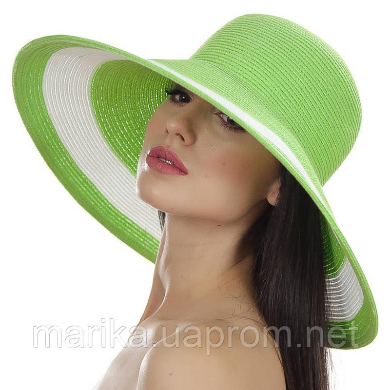 Салатовая  шляпа с белой полосой