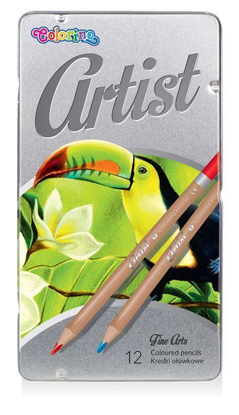 Карандаши цветные в металлической упаковке 12 цветов, Colorino Artist