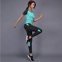 Костюм спортивный  женский для фитнеса, спорта, бега, йоги. Размер L (бирюзовый)