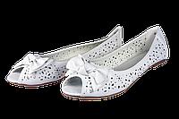 Женские балетки кожанные перфорированные elmira-rima q4-564 белые   летние , фото 1