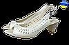 Женские босоножки кожанные на каблуке dixi 5005беж бежевые   летние