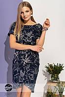 Летнее платье с цветочным рисунком темно-синее. Модель 20997. Размеры 42, фото 1