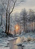 Зима. Картина маслом. Картины ппейзажи.