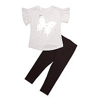 Комплект для девочки, футболка и лосины, бежевый. Бабочка.