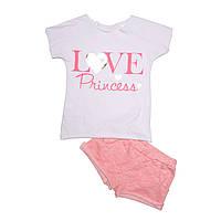 Комплект для девочки, футболка и шорты. Love.