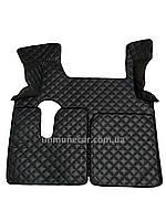 Автомобильные ковры из эко-кожи MAN TGX МКП 2 ящика тёмно-серого цвета в кабину Т01
