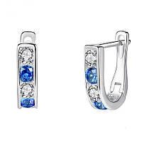 """Серебряные женские серьги 925 пробы с кристаллами циркония """"Elizabeth Blue"""", фото 1"""
