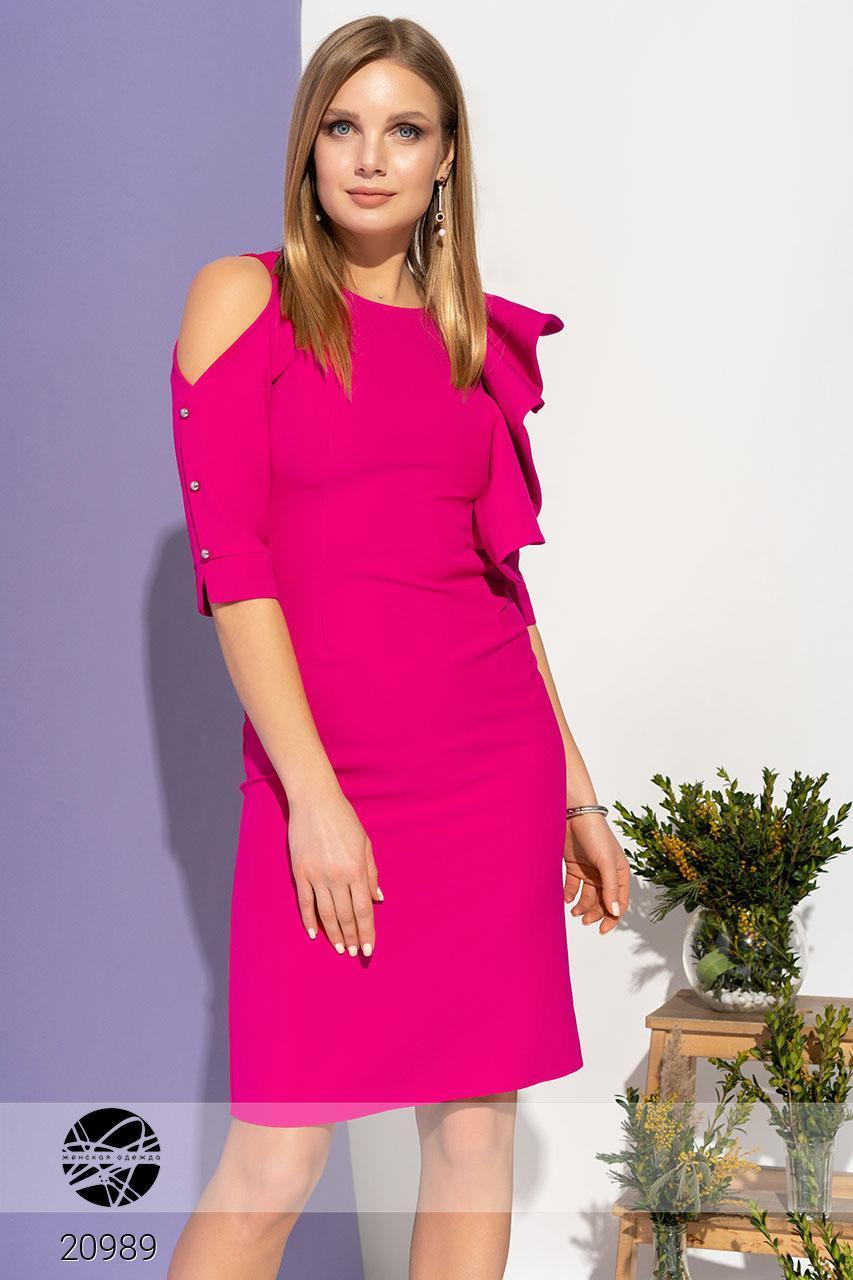 1eeccf70d24 Вечернее платье цвета фуксии с открытым плечом. Модель 20989. Размеры 42-48