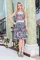 Платье-сарафан розовое с поясом