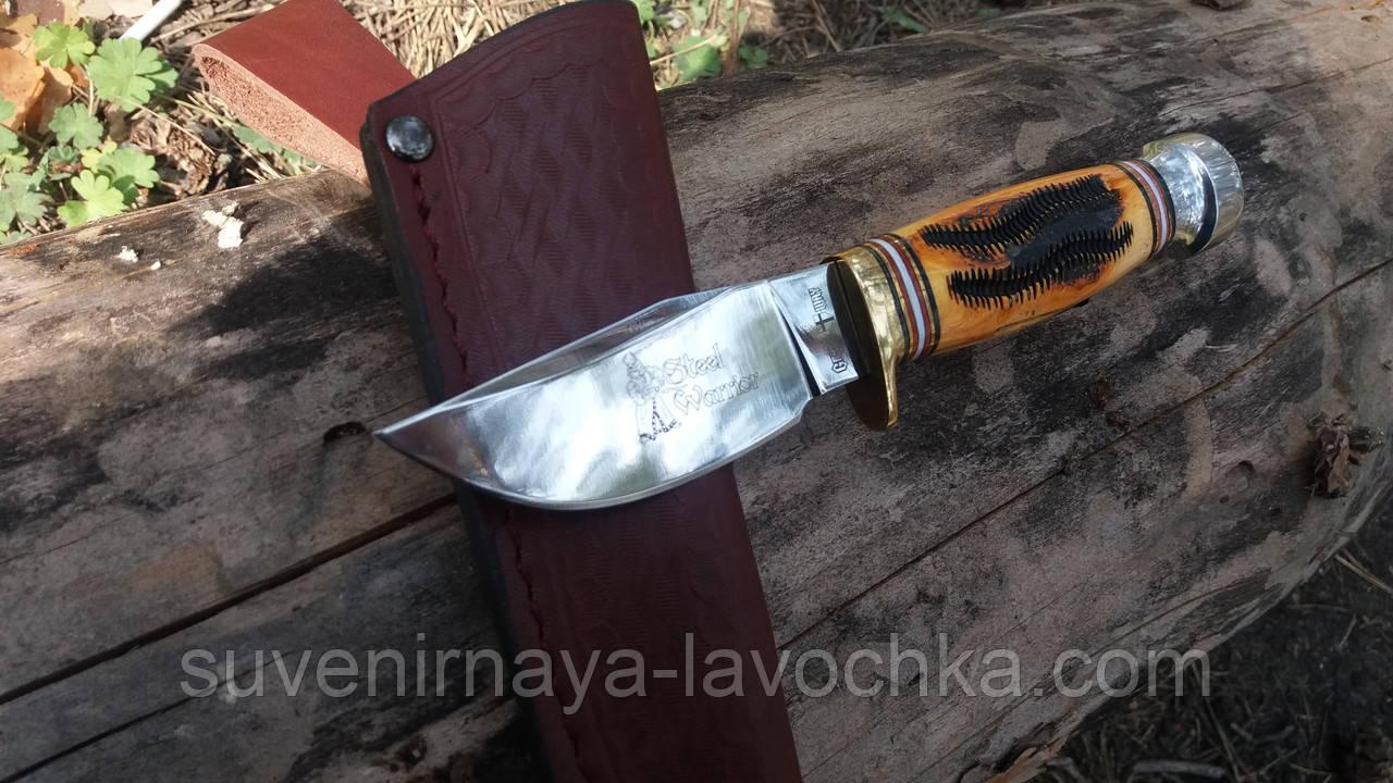 Нож нескладной кость быка -2 кожаный чехол
