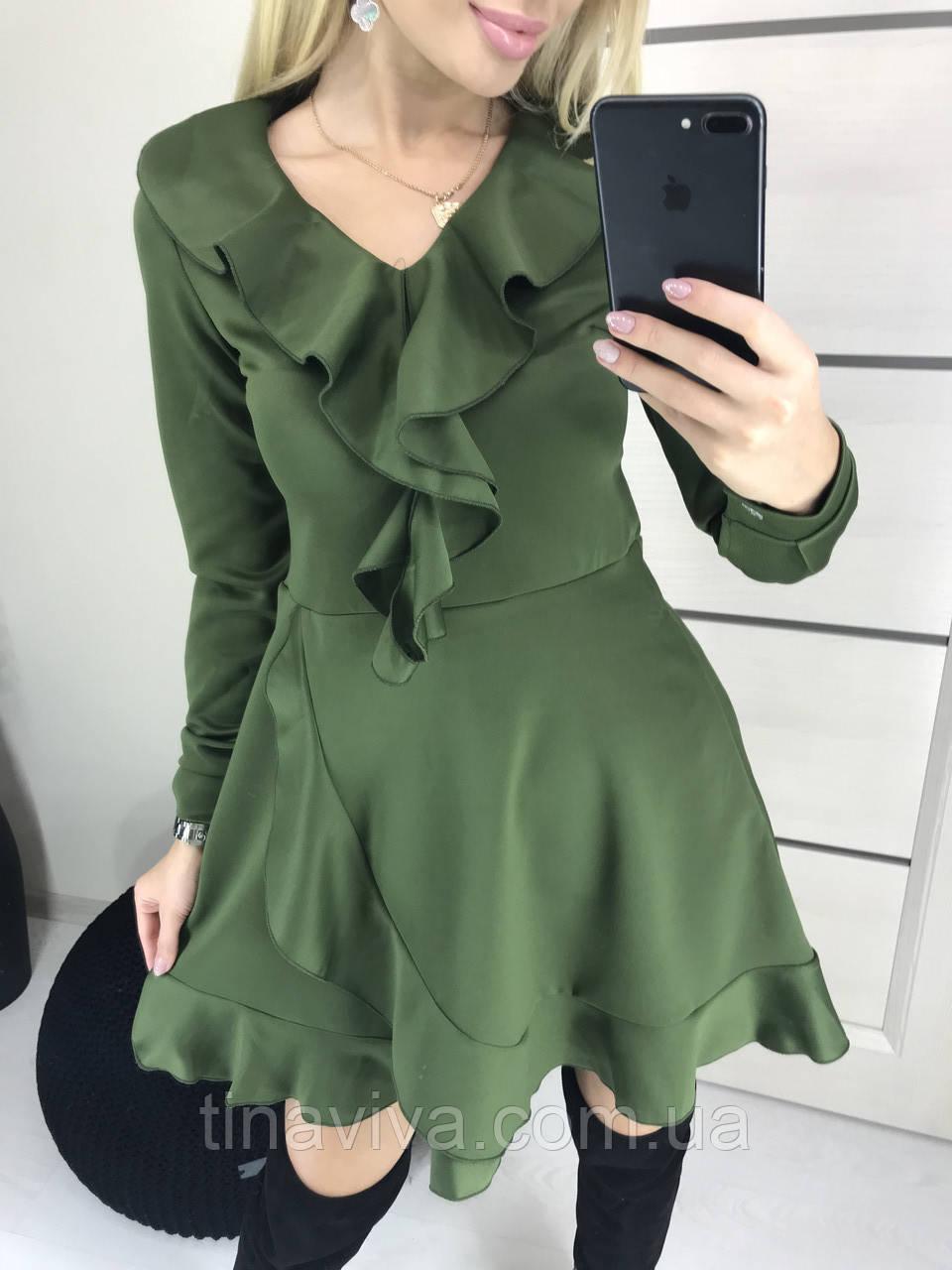 """женское трендовое платье  с рюшей (жіноча сукня ) """"Матильда"""""""