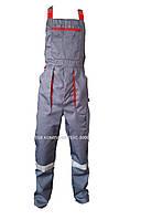 Полукомбинезон рабочий CARBON, серый с красным ( тк. Саржа)