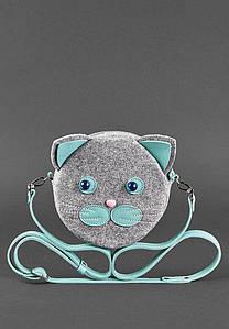 Сумка BlankNote Miss Kitty фетр+кожа Тиффани (BN-BAG-21-felt-t)