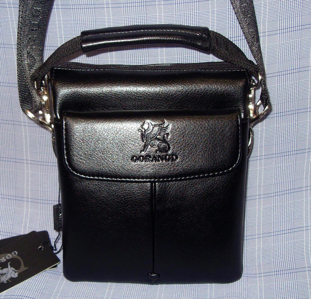 494439d83a91 Мужская сумка Gorangd 8824-41 черная искусственная кожа с визитницей ...