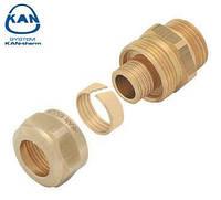 "KAN-therm соединитель латунный свинчиваемый для труб PE-x и PE-RT 18х2,5 мм, 1/2"" НР, 9006.44"