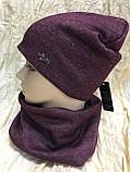 Бордовый демисезонный комплект шапка + бафф на флисе, фото 2