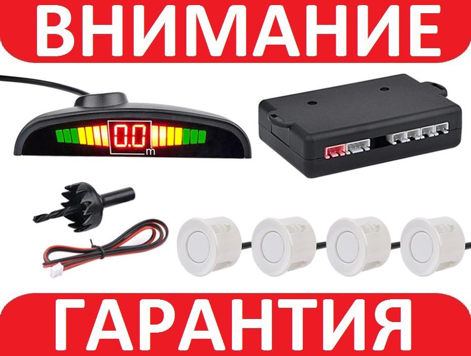 Парктроник парковочный радар датчик парковки, задний 4 сенсора БЕЛЫЙ