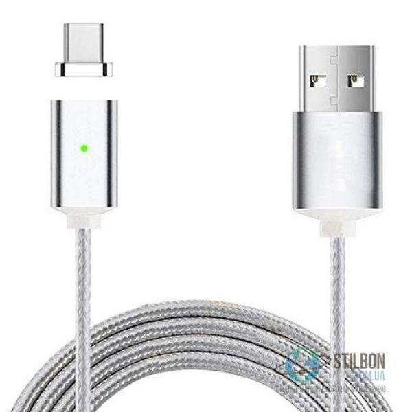 Кабель Micro USB - Магнитный коннектор V8 Magnetic Absorption 1м Silver