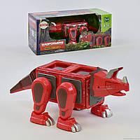 Конструктор магнітний Динозавр Червоний (світло, звук) 20 деталей LQ625