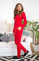Комбинезон женский с капюшоном,стильный, красный, 1103-010, фото 1