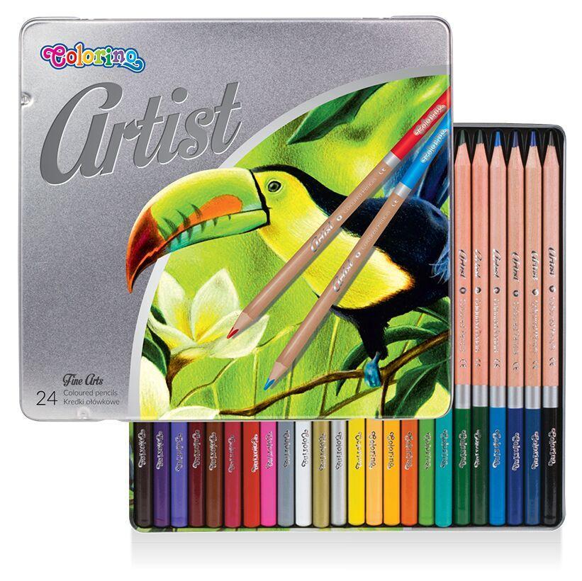 Карандаши цветные в металлической упаковке 24 цвета, Colorino Artist