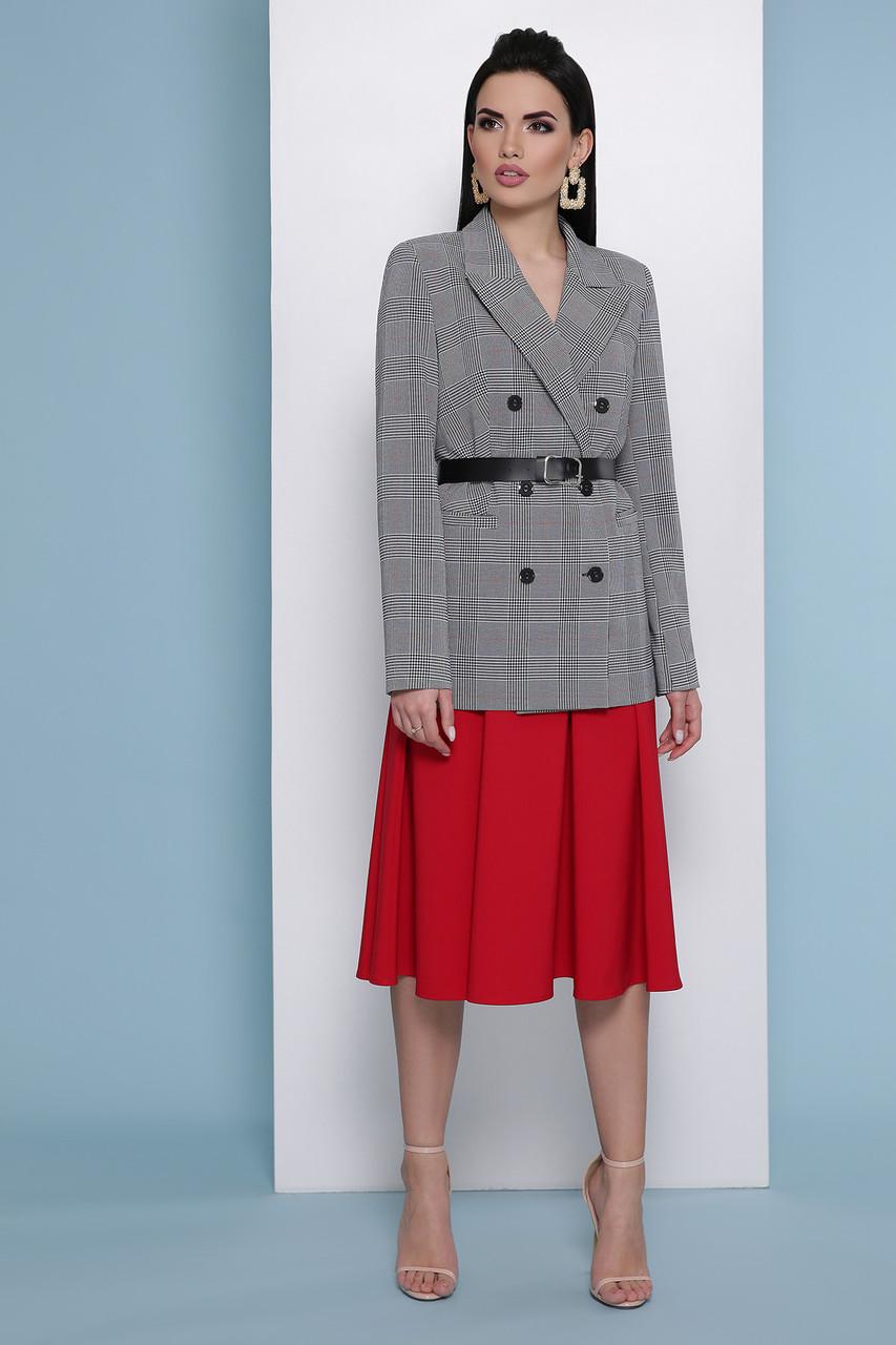 Деловой пиджак женский 2019 серый в клетку удлиненный длинный 42-50