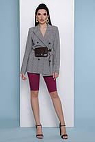 Деловой пиджак женский 2019 серый в клетку удлиненный длинный 42-50, фото 2