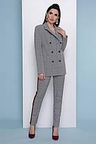Деловой пиджак женский 2019 серый в клетку удлиненный длинный 42-50, фото 3