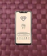 Качественное защитное стекло на Xiaomi Redmi Note 6 Pro. Клеется по всей поверхности экрана.  Черное