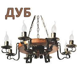 Деревянная люстра Колесо Кольцо светлое на 5 ламп