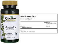 Swanson, Аргинин, Л-Аргинин, 500 мг, 100 капсул